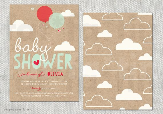 Balloons & Clouds PRINTABLE Baby Shower Invitation | Custom Colorful Whimsical Cute Krafy Paper Baby Party Invite | PRINTED Card / pdf / jpg by fatfatin