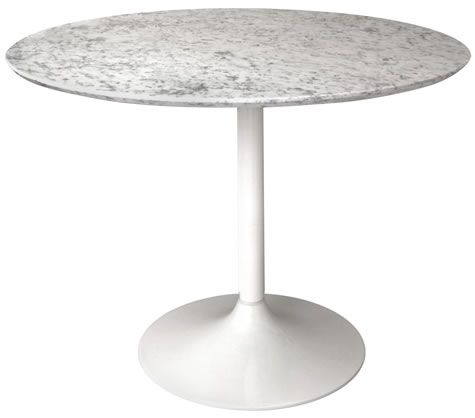 Gensifer Marble Round Table  Kitchen, Dining Table With White Retro Base