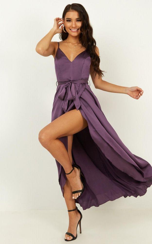 Treasuring You Dress In Aubergine Satin | Showpo | Dresses, Women dress  online, Showpo