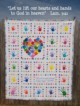 "Class auction quilt.  ""Heart and Hands""  link to lots of process pix!"