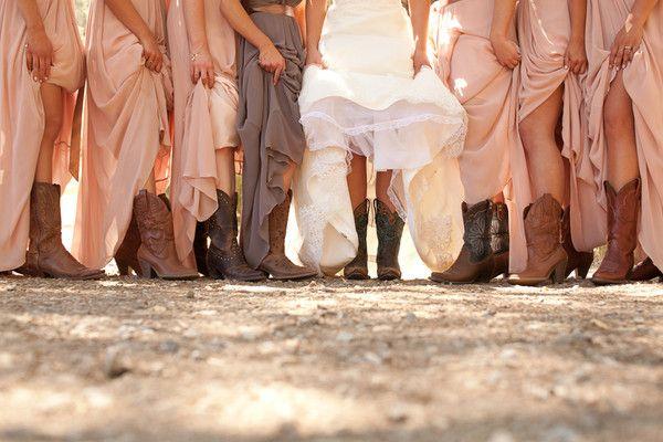 Pale Pink + Taupe #Bridesmaids I #CowgirlBoots I Danae Grace EventsI See more: http://www.weddingwire.com/biz/danae-grace-events-san-luis-obisposanta-barbara/portfolio/42007d460124fa57.html?page=1&subtab=album&albumId=34110568e08a4b70#vendor-storefront-content