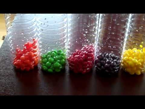 Skittles Vodka Video // I followed these instructions: 1 14oz bag of Skittles separated by color into 5 mason jars.  Added 5oz of vodka to each.  Cheap vodka was $6.29 and Skittles were $3.79 at a local store but I'm sure they're cheaper at Walmart