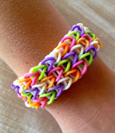 Rainbow Loom Bracelet Patterns | Rainbow Loom friendship bracelet rubber bands in purple, pink, orange ...