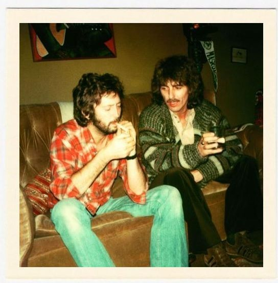 Eric Clapton and George Harrison toking up <3 #celeb #weed #music