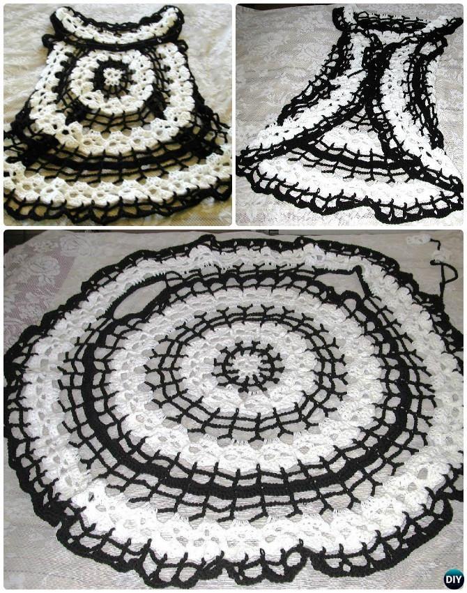 DIY Crochet Skull Circle Vest Pattern-Crochet Circular Vest Sweater Jacket Pattern