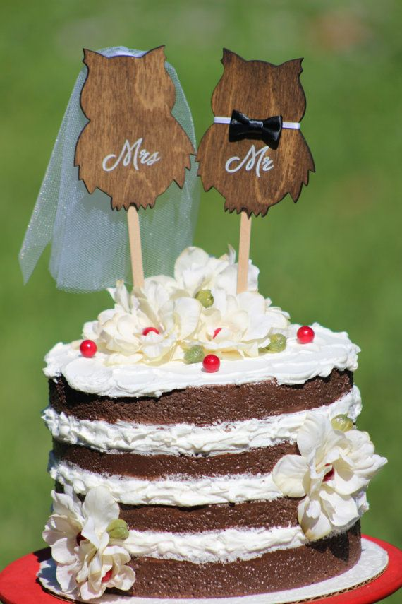 Owl Wedding Cake Topper Mr & Mrs Rustic Country by WeddingPros