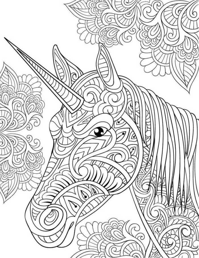 Zen Unicorn Head Pattern Coloring Page For Adults Unicorn Coloring Pages Horse Coloring Pages Animal Coloring Pages