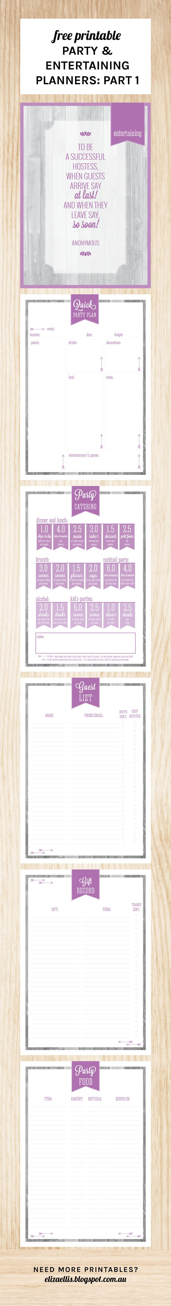 Free Printable Party & Entertaining Planners Part One from Eliza Ellis including catering quantities, party food list, gift record, guest list and a quick party plan - the perfect addition to your Home Management Binder, Control Journal or Home Organizer, this set also includes a section cover :)