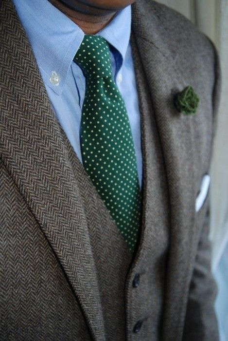 Brown tweed three piece with green/blue accents