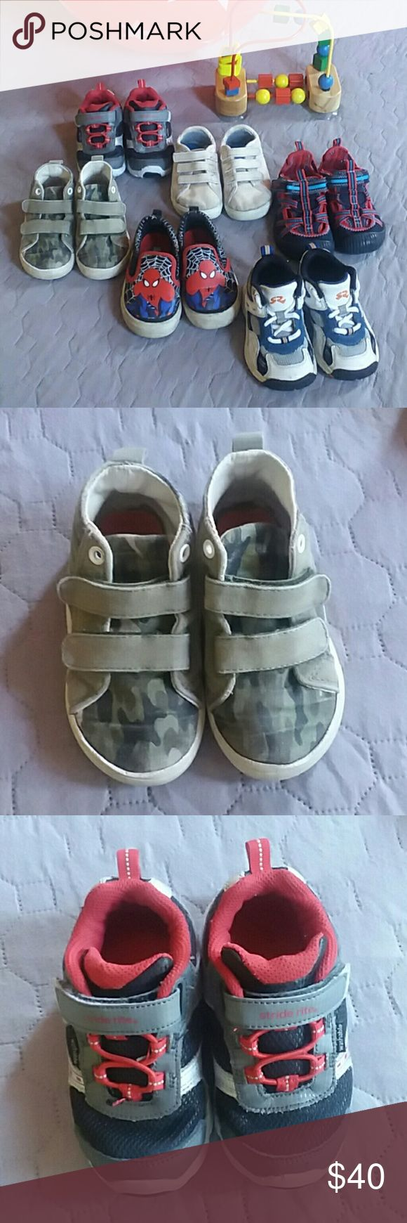 Boys toddler shoes sz 7. L@@K!! Six pair of shoes for toddlers size 7  2 Stride Rite pairs of sneakers 1 Carter's camo boots 1 OKBG full cover sandals 1 And1 three strap tennies 1 Marvel Spiderman Stride Rite Shoes