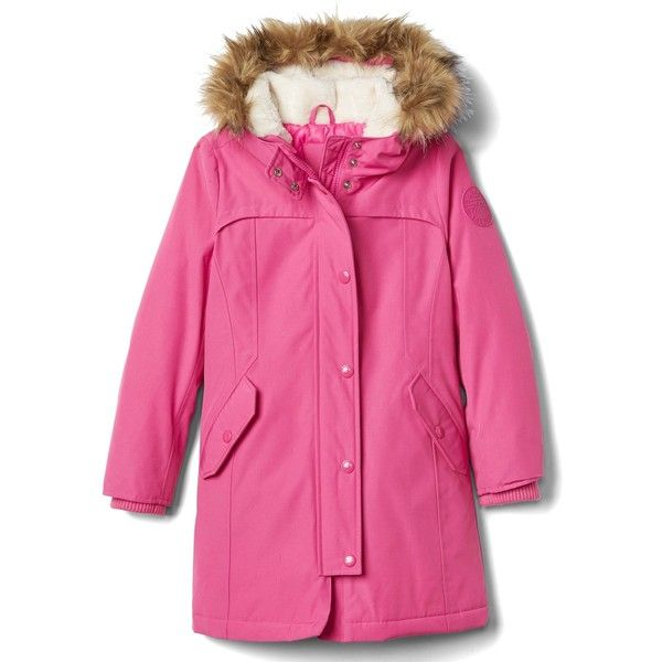 Down faux-fur parka ($115) ❤ liked on Polyvore featuring outerwear, coats, pink faux fur parka, pink coat, faux fur coat, fake fur coat and pink faux fur coats