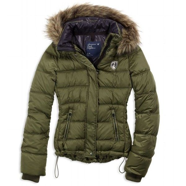 AE Women's Puffer Coat (Olive) ($60) ❤ liked on Polyvore featuring outerwear, coats, jackets, clothing & accessories, women, lightweight coat, olive green puffer coat, green coat, quilted coat and puffy coat