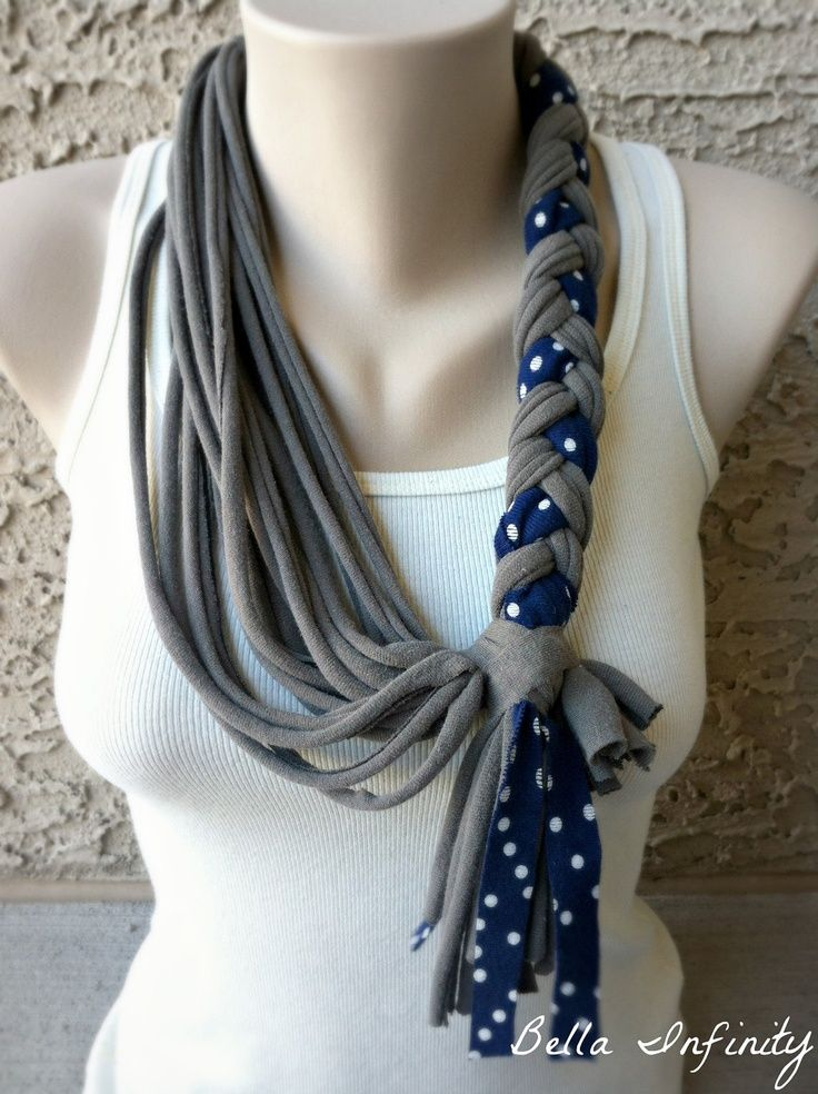 Inspiration: Upcycled DIY Tshirt Rope Scarf with braiding. Love the Polka dots!