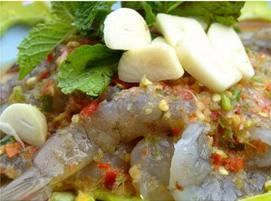 Fresh Shrimp With Spicy Homemade Dressing:Raw shrimp served with spicy homemade dressing from Pattaya Bay Restaurant in Los Angeles #Food #Shrimp #Restaurant forked.com