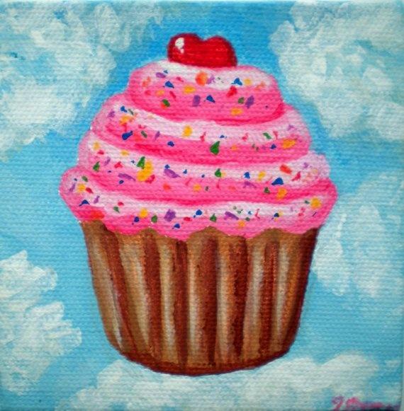 Original On Cupcake Cloud Nine Acrylic Painting by cupcakemanor, $30.00