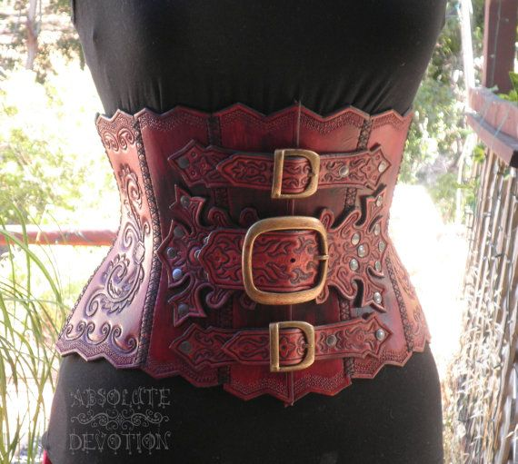 Ophelia  Steampunk Hand Tooled Hard Leather by AbsoluteDevotion