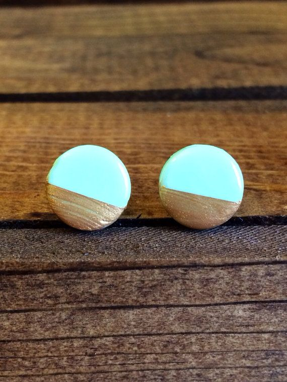 Polymer clay stud earrings - use a gold paint pen for details.
