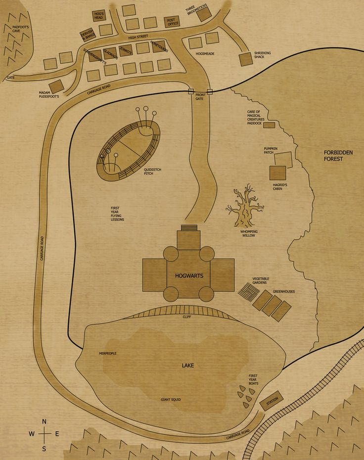 High Quality This Is A Map Of The Hogwarts Grounds And Hogsmeade.