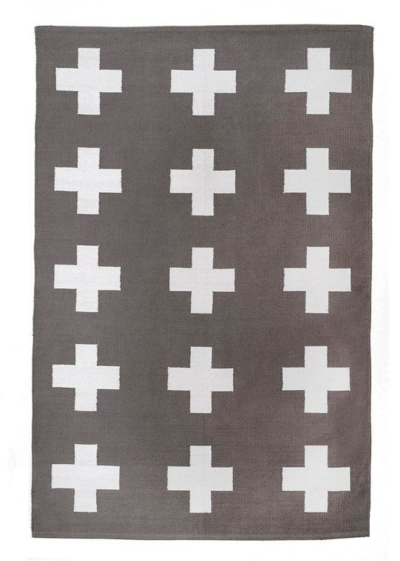 UNION RUG 8x10 grey and white cross cotton dhurrie rug plus sign scandinavian area rug