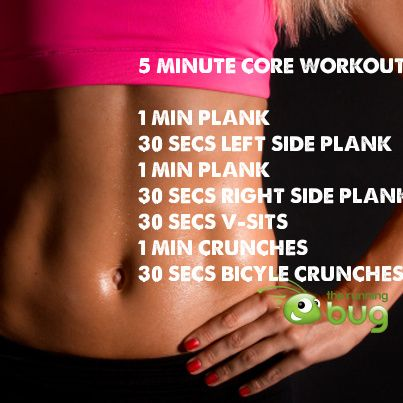 5 minute core workout  fitness things  pinterest  a