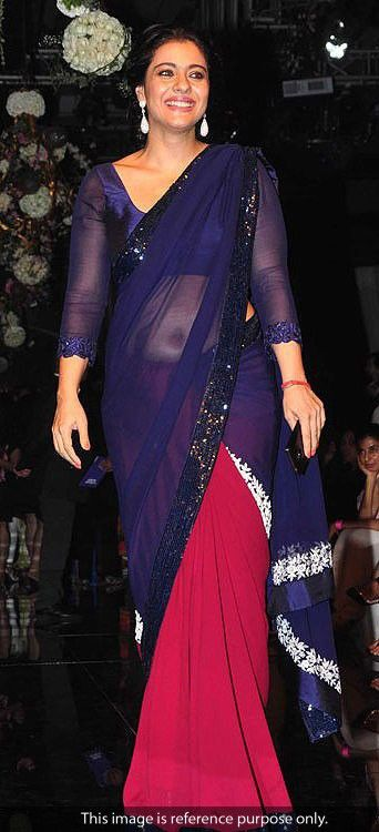 Kajol Georgette Lace Work Blue & Pink Plain Bollywood Style Saree - 165 at Rs 1799