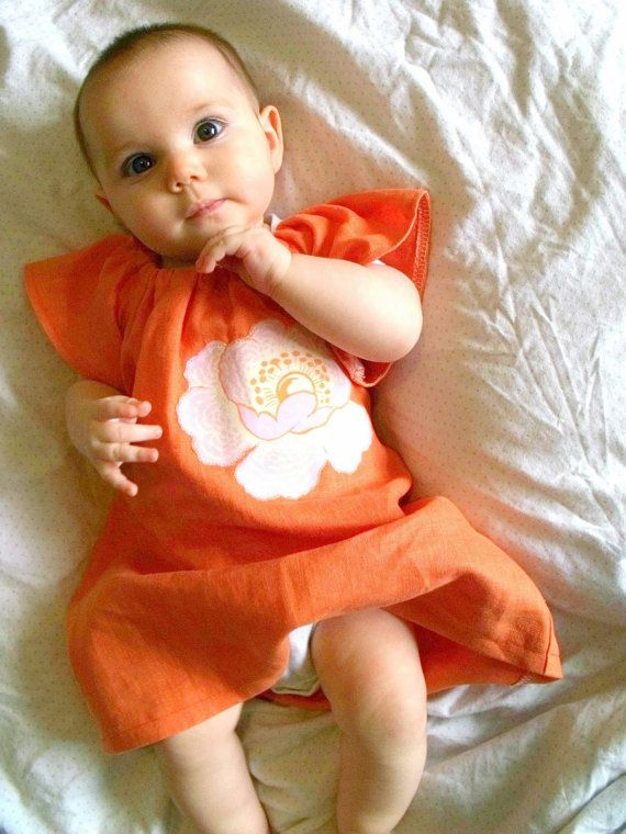 Girl's Orange Linen Dress with Flower by Jack & Willa Designs, $45.00