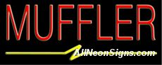 """Muffler Neon Sign-10092  13"""" Wide x 32"""" Tall x 3"""" Deep  110 volt U.L. 2161 transformers  Cool, Quiet, Energy Efficient  Hardware & chain are included  6' Power cord  For indoor use only  1 Year Warranty/electrical components  1 Year Warranty/standard transformers."""