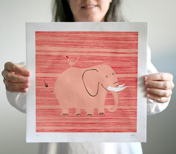 The Elephant is a fun and colorful silkscreen print based on an illustration I made for a children's book about animal riddles. It's a limited edition 3-color print I made myself using warm and vibrant solvent-free water-based colors on handmade 100% cotton paper made from spare cloth from clothes manufactures.