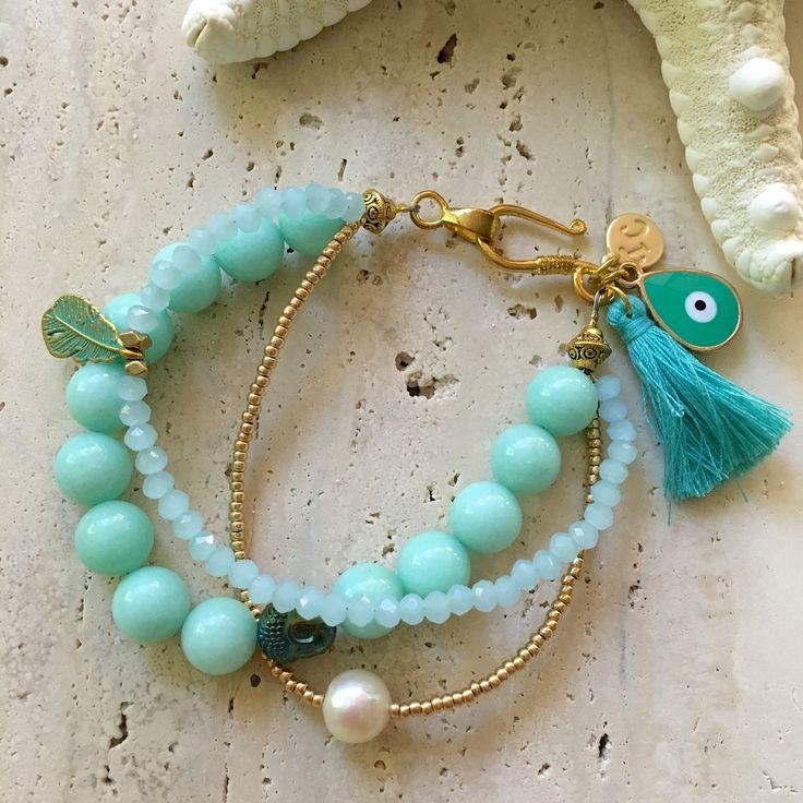 Aqua Jade Bohemian bracelet