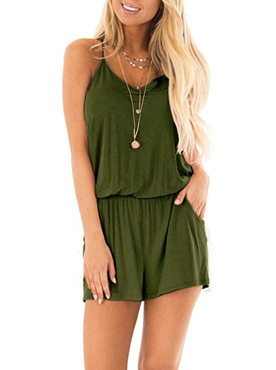 3f7f962bc REORIA Womens Casual Summer One Piece Sleeveless Spaghetti Strap Playsuits  Short Jumpsuit Beach Rompers Army Green Small