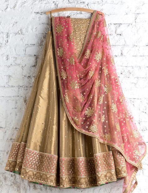 SwatiManish : Metallic gold lehenga with pink dupatta
