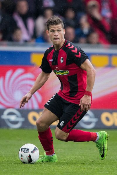 Florian Niederlechner of Freiburg controls the ball during the Bundesliga match between SC Freiburg and FC Schalke 04 at Schwarzwald-Stadion on May 7, 2017 in Freiburg im Breisgau, Germany.