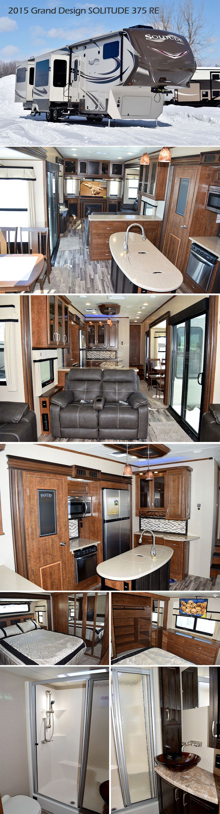 """2015 Grand Design SOLITUDE 375RE Fifth Wheel. If more room is what you desire, Solitude is the most spacious Extended Stay Fifth Wheel ever built! The Solitude RV delivers taller ceilings, taller, deeper cabinets, larger scenic window areas, a full 6' 8"""" tall slide-out, and a body width that measures a full 101 inches! You may be looking for an extended stay unit to live in for months at a time... but you just may want to live in this one for the rest of your life!"""