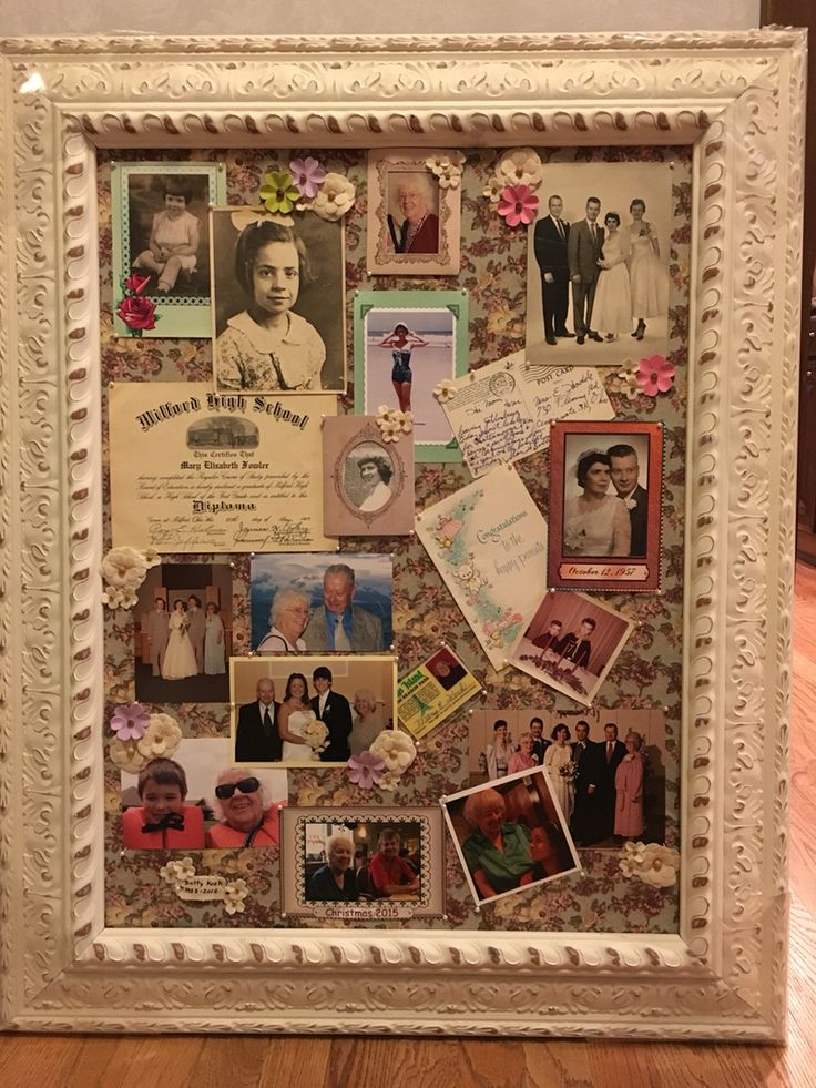Memorial Board- I created this memorial board in honor of my mother-in-law for her funeral. Simply used s framed bulletin board and covered the cork with fabric. I used straight pins with a pearl head to hold the pictures and other objects in place.   I started with the earliest pictures and worked my way through the years as I progressed down the board. I added items such as her diploma, post cards and greeting cards that fit with the pictures. I added some flower embellishments that I…
