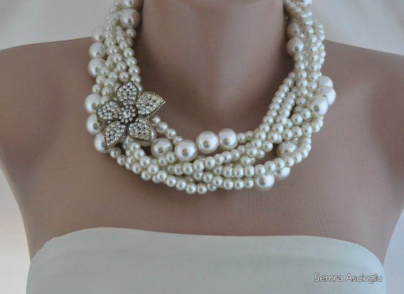 Pearl, Wedding Pearl Necklace, Bold Ivory Glass Pearl Necklace, Flower  Rhinestone Brooch, Brides Wedding Necklace,Braided Pearls   Products    Pinterest ... dd44a398b9