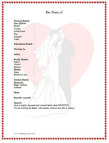 Biodata for Marriage Heart Format from: http://www.marriageextra.com/biodata-for-marriage/ There are many more formats on site