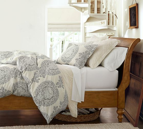 Lucianna Medallion Duvet Cover & Sham - Gray   Pottery Barn.  love this bedding with our set!