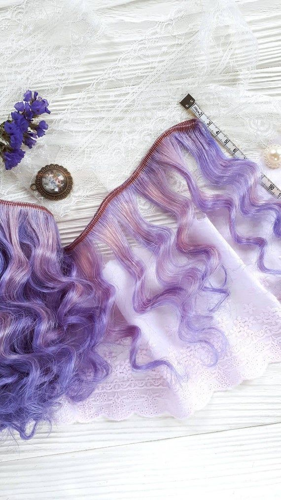 Violet mohair Weft -Wavy – Doll wig making, high quality goat weft for realistic doll hairstyles.