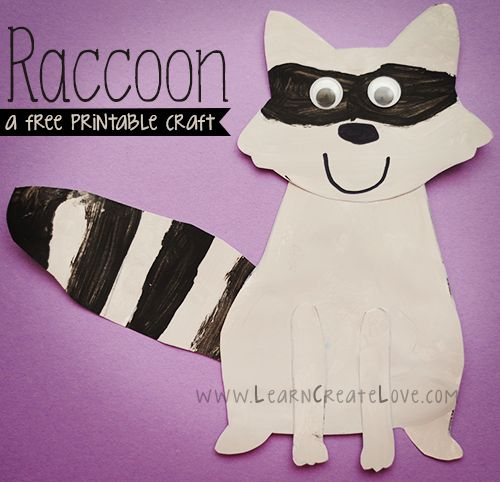 Printable Raccoon Craft | LearnCreateLove.com - Repinned by Therapy Source, Inc. - txsource.net