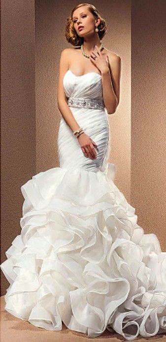 Mermaid Wedding Dress with a bejeweled belt.