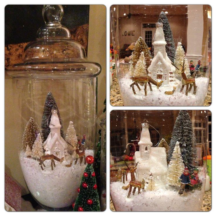 """DIY """"Snow globe"""" Christmas apothecary jars"""
