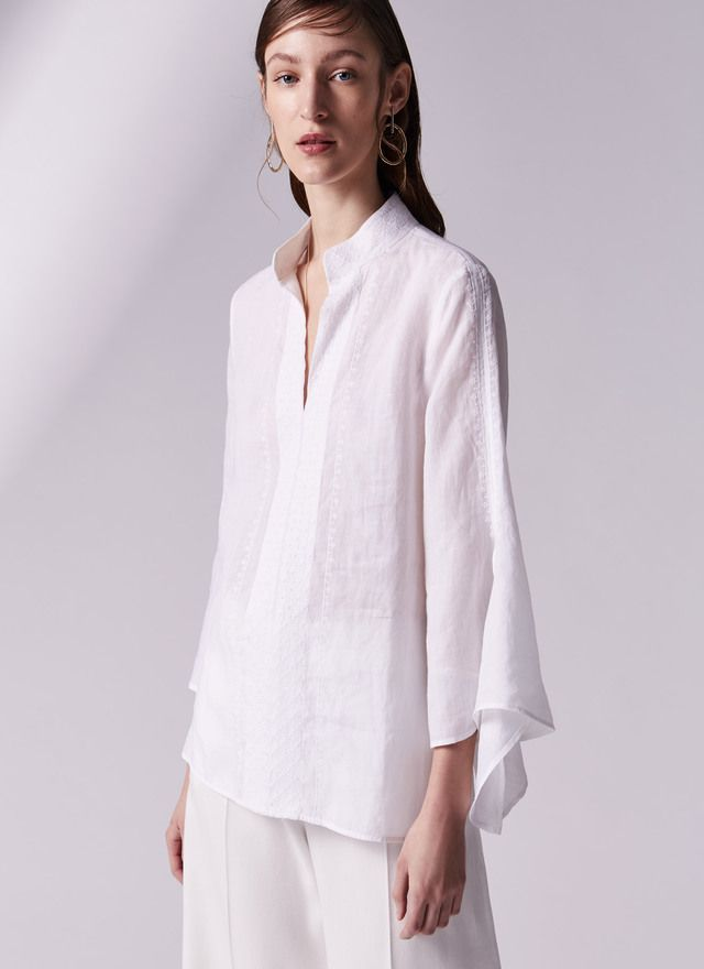 Embroidered linen shirt - Shirts & Blouses | Adolfo Dominguez shop online