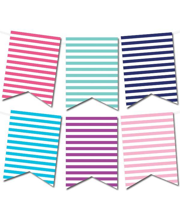 Free Printable Striped Pennant Banner   Printable Party Decor #freeprintable