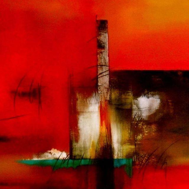 Docking, 110 x 170 cm mixed media on canvas by Thelma Zambrano