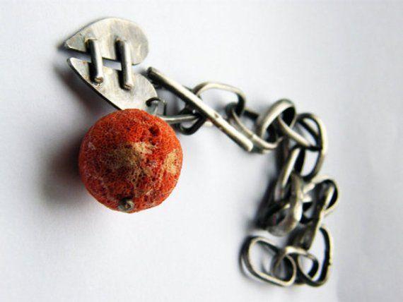 Sterling silver pom pom chain bracelet