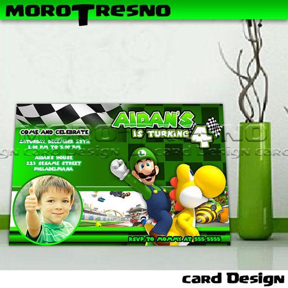 mario kart birtday invitation landscape copy - Invitation Card