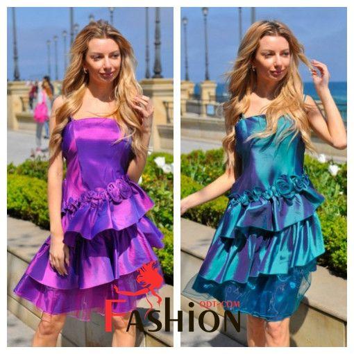 👗7️⃣1️⃣0️⃣руб👗 Вечернее атласное платье с оборками 005 Размер: XS; S; M; L Производитель: FIRST WOMAN Ткань: Тафта;Органза Длина: Мини Цвета: бирюзовый, серый, фиолетовый. Спинка на резинке.