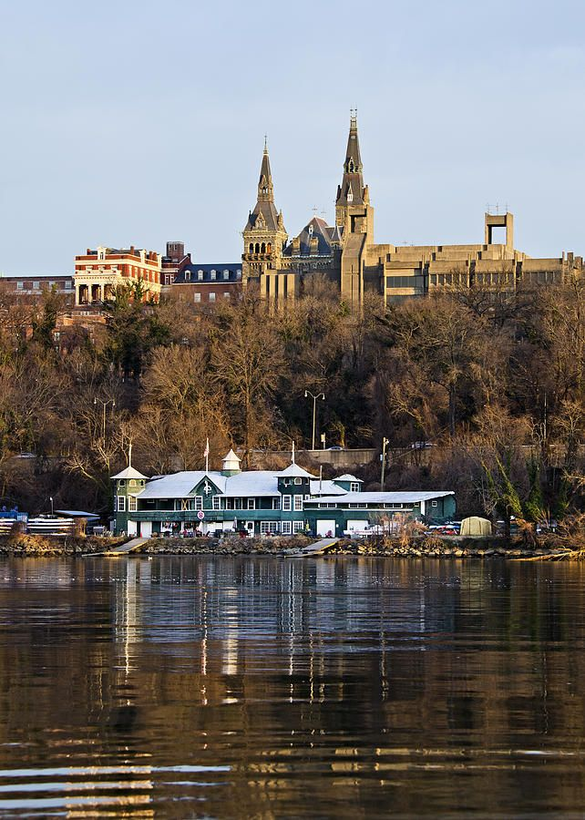 """Georgetown University waterfront - My memoir, """"Finding My Invincible Summer"""" tells many stories about my life at Georgetown. On the right in this photo is the Lauinger Library, which was my second home - Muriel www.findingmyinvinciblesummer.info"""