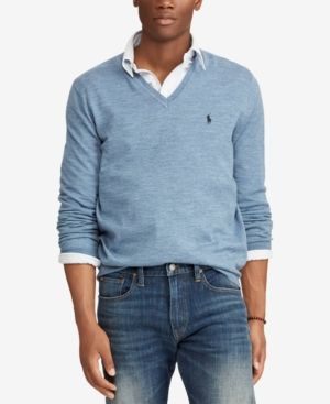 Polo Ralph Lauren Men s Merino Wool V-Neck Sweater - Light Chambray Heather  XXL d3b96c1ed9a