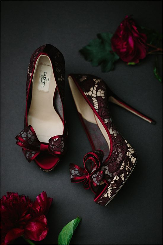 red lace #heels @weddingchicks | | burgundy wedding | marsala wedding |